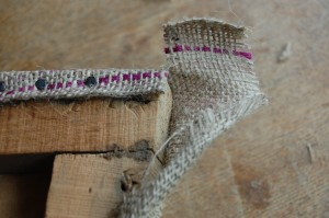 Finishing a corner of the hessian layer